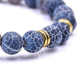 Bracelet ancre marine femme, avec pierres bleueus naturelles