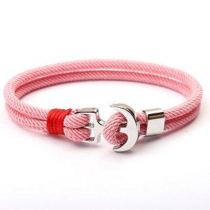 Bracelet ancre rose pale