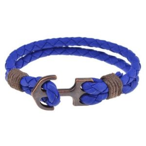 Bracelet ancre tressé bleu