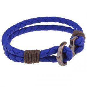Bracelet ancre tressé bleu vue de côté