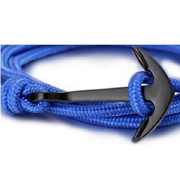 Bracelet corde bleu à ancre