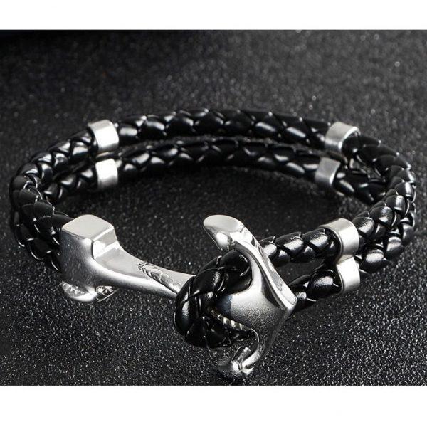 Bracelet cuir avec ancre argentée