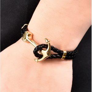Bracelet cuir fermoir ancre
