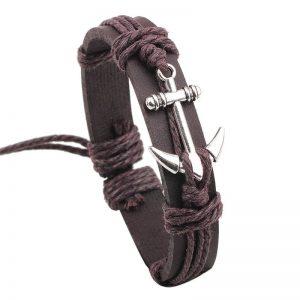 Bracelet en cuir avec ancre marine, marron et argent