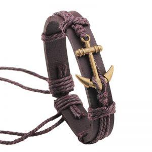 Bracelet en cuir avec ancre marine, marron et cuivre