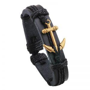 Bracelet en cuir avec ancre marine, noir et cuivre