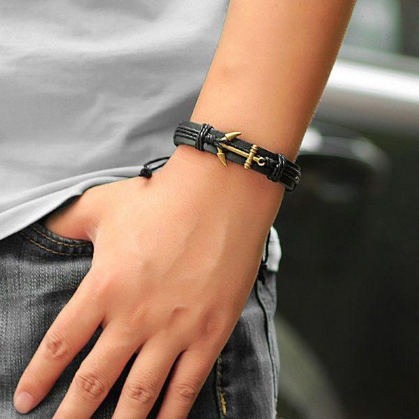 Bracelet en cuir véritable avec ancre marine