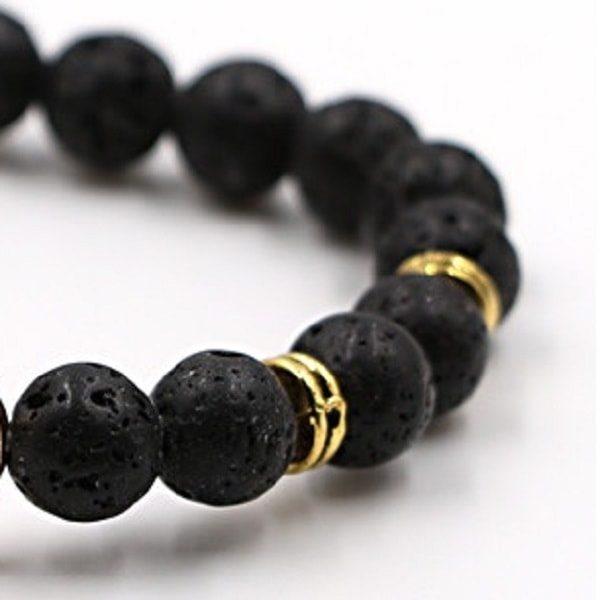 Bracelet pierre de lave avec ancre, zoom