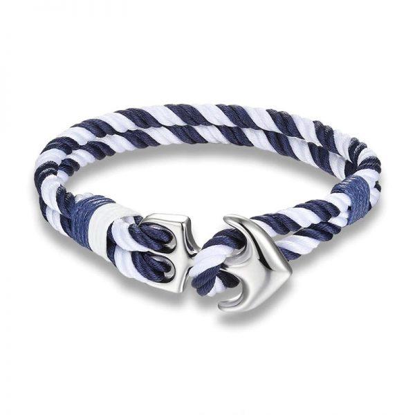 Bracelet ancre bleu et blanc