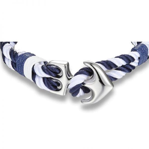 Bracelet ancre bleu et blanc - fermoir