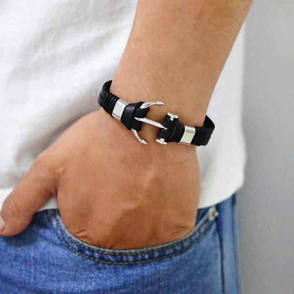Bracelet ancre de bateau cuir