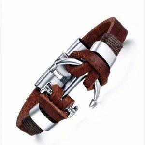 Bracelet ancre de bateau cuir C029B