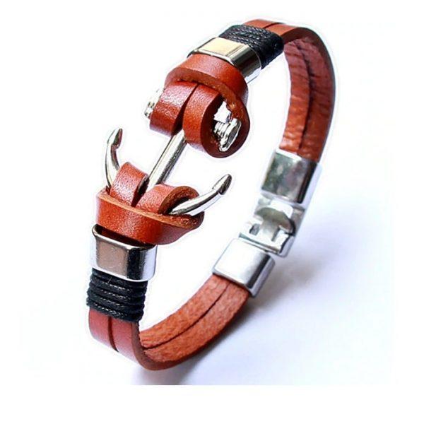 Bracelet ancre de bateau cuir C029C