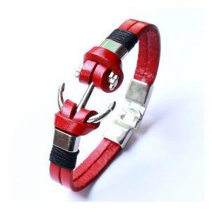 Bracelet ancre de bateau cuir C029E