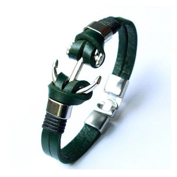 Bracelet ancre de bateau cuir C029F