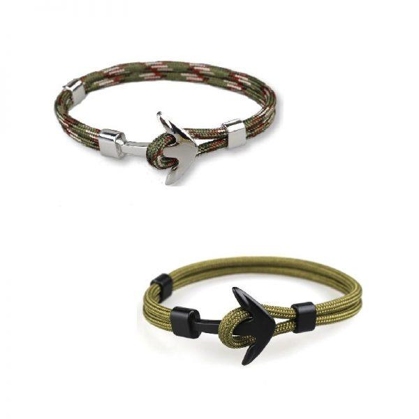 Bracelet ancre homme kaki
