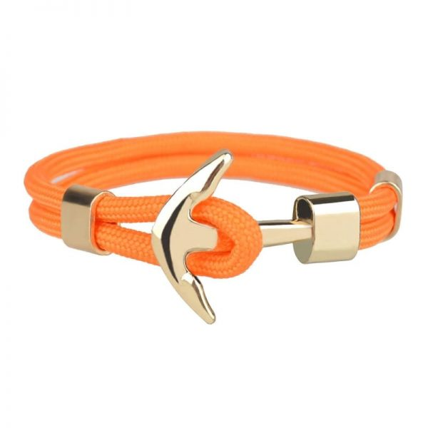 Bracelet ancre homme orange à ornement doré