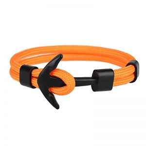 Bracelet ancre homme orange à ornement noir