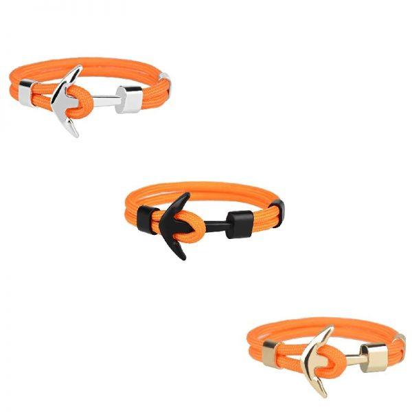 Bracelet ancre homme orange