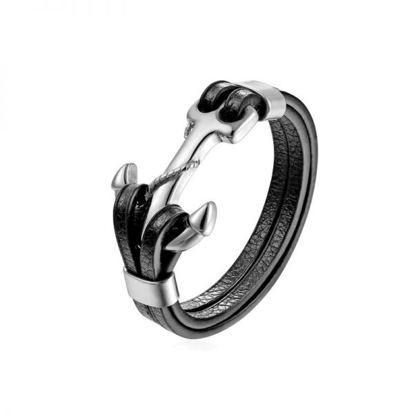 Bracelet cuir et ancre homme PG536